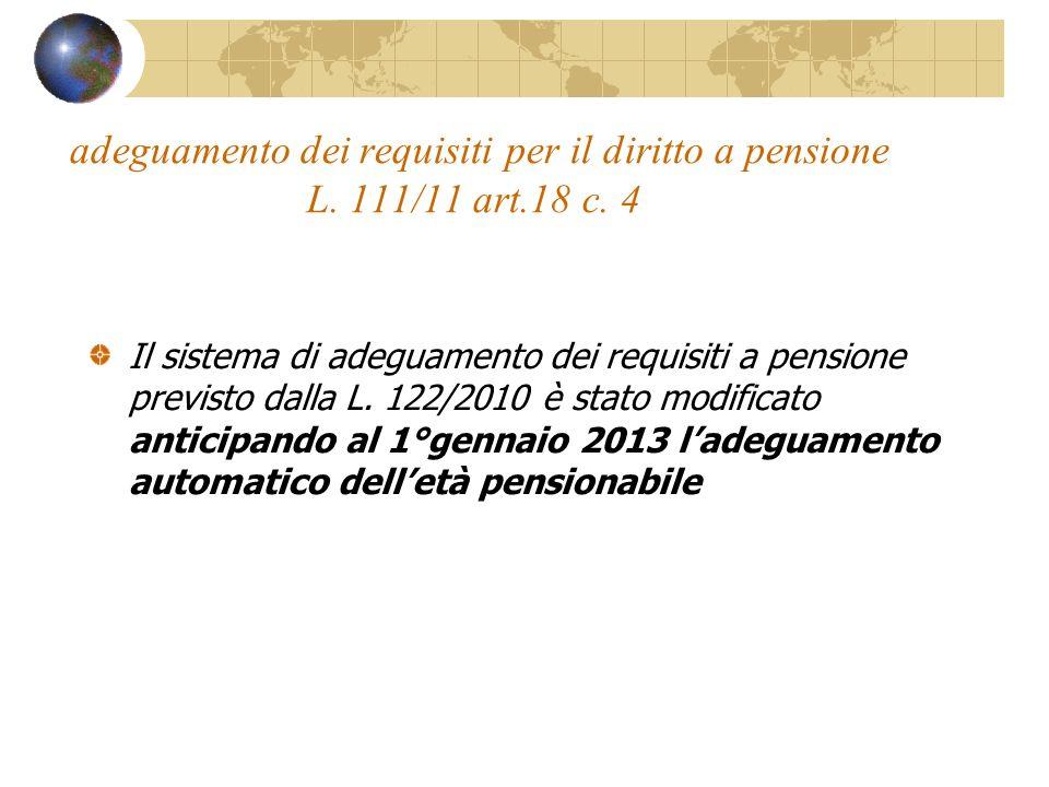 adeguamento dei requisiti per il diritto a pensione L. 111/11 art.18 c. 4 Il sistema di adeguamento dei requisiti a pensione previsto dalla L. 122/201