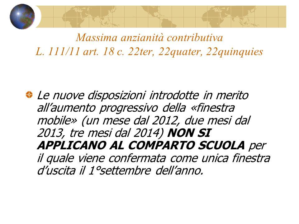 Massima anzianità contributiva L. 111/11 art. 18 c.
