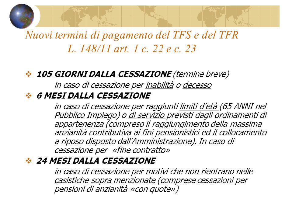Nuovi termini di pagamento del TFS e del TFR L. 148/11 art. 1 c. 22 e c. 23 105 GIORNI DALLA CESSAZIONE (termine breve) in caso di cessazione per inab
