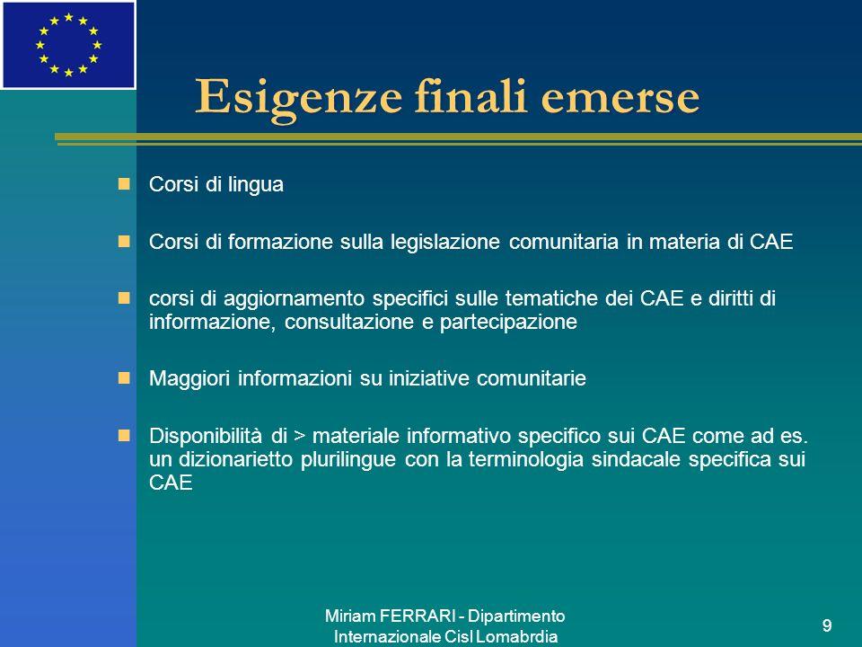 Miriam FERRARI - Dipartimento Internazionale Cisl Lomabrdia 9 Esigenze finali emerse Corsi di lingua Corsi di formazione sulla legislazione comunitari
