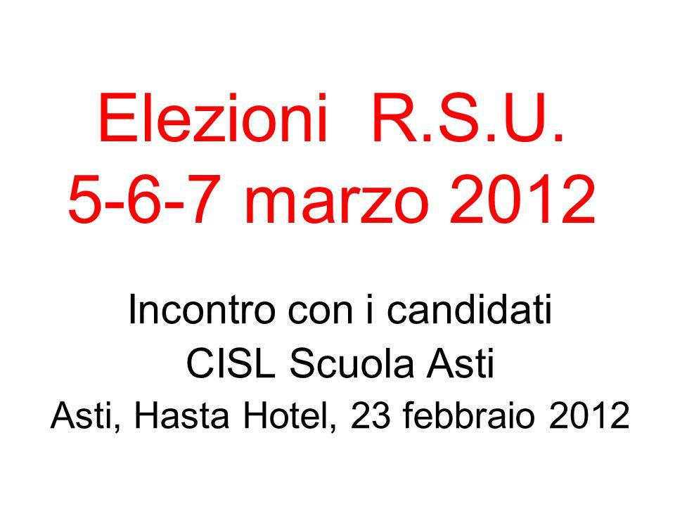Incontro con i candidati CISL Scuola Asti Asti, Hasta Hotel, 23 febbraio 2012 Elezioni R.S.U. 5-6-7 marzo 2012