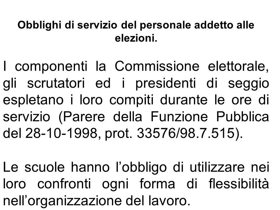 Obblighi di servizio del personale addetto alle elezioni. I componenti la Commissione elettorale, gli scrutatori ed i presidenti di seggio espletano i
