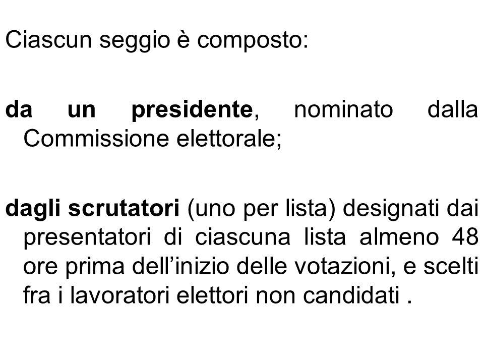 Ciascun seggio è composto: da un presidente, nominato dalla Commissione elettorale; dagli scrutatori (uno per lista) designati dai presentatori di cia
