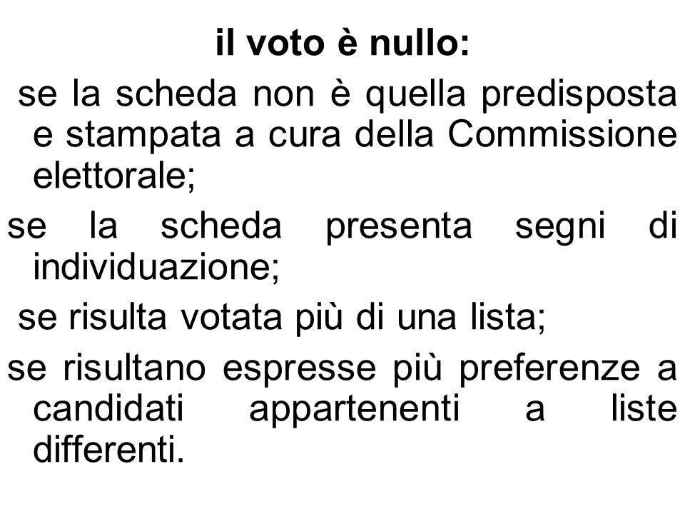 il voto è nullo: se la scheda non è quella predisposta e stampata a cura della Commissione elettorale; se la scheda presenta segni di individuazione;