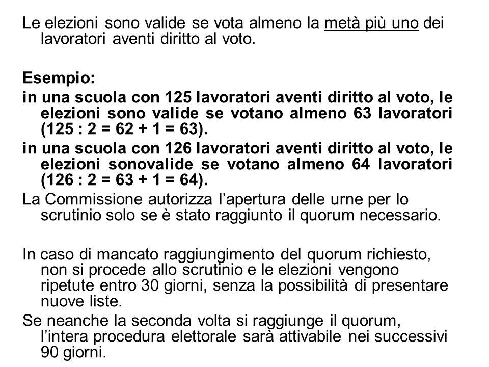 Le elezioni sono valide se vota almeno la metà più uno dei lavoratori aventi diritto al voto. Esempio: in una scuola con 125 lavoratori aventi diritto