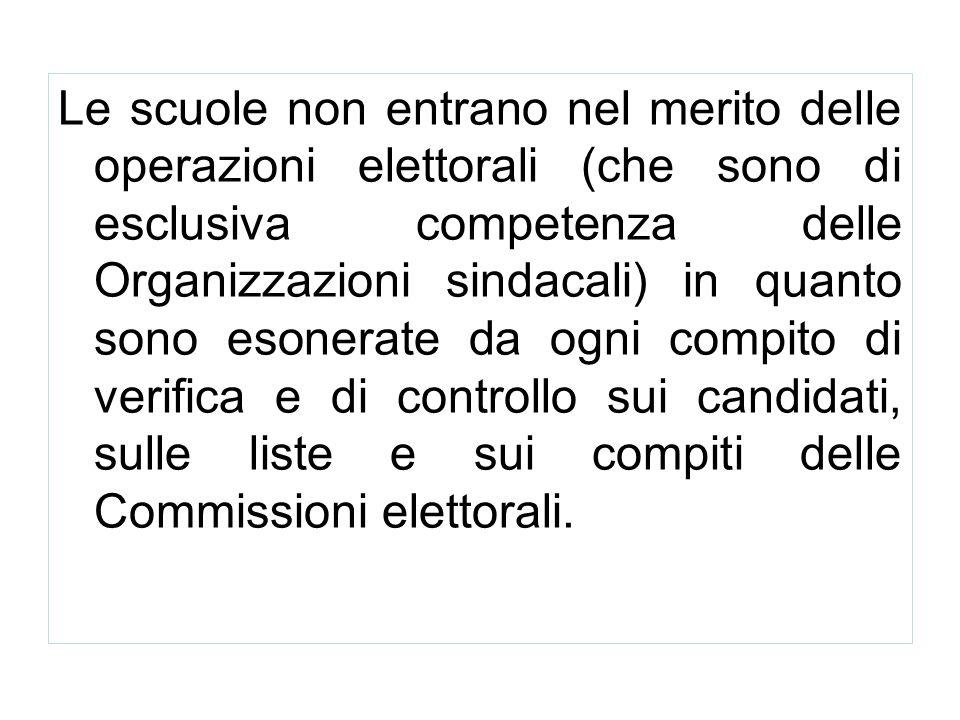 Le scuole non entrano nel merito delle operazioni elettorali (che sono di esclusiva competenza delle Organizzazioni sindacali) in quanto sono esonerat