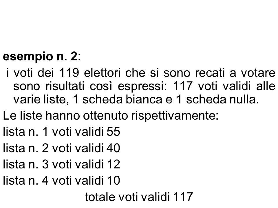 esempio n. 2: i voti dei 119 elettori che si sono recati a votare sono risultati così espressi: 117 voti validi alle varie liste, 1 scheda bianca e 1