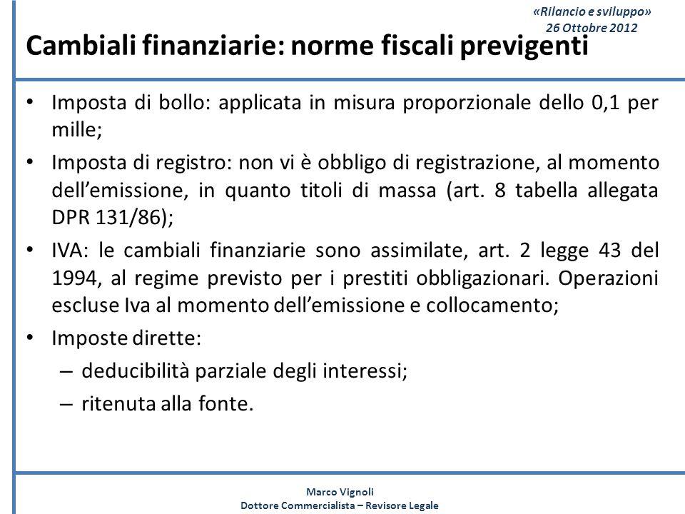 «Rilancio e sviluppo» 26 Ottobre 2012 Cambiali finanziarie: norme fiscali previgenti Imposta di bollo: applicata in misura proporzionale dello 0,1 per