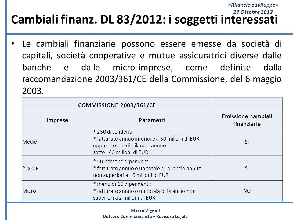 «Rilancio e sviluppo» 26 Ottobre 2012 Cambiali finanz. DL 83/2012: i soggetti interessati Le cambiali finanziarie possono essere emesse da società di