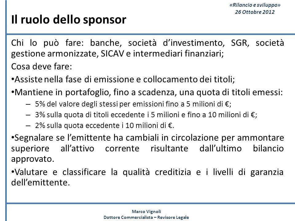 «Rilancio e sviluppo» 26 Ottobre 2012 Il ruolo dello sponsor Chi lo può fare: banche, società dinvestimento, SGR, società gestione armonizzate, SICAV