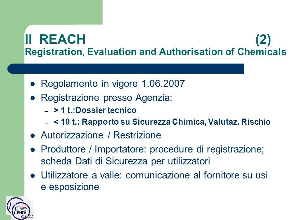 Il REACH (2) Registration, Evaluation and Authorisation of Chemicals Regolamento in vigore 1.06.2007 Registrazione presso Agenzia: – > 1 t.:Dossier te