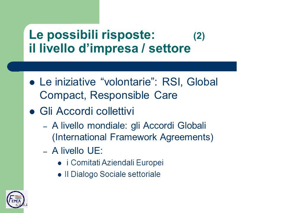 Le possibili risposte: (2) il livello dimpresa / settore Le iniziative volontarie: RSI, Global Compact, Responsible Care Gli Accordi collettivi – A livello mondiale: gli Accordi Globali (International Framework Agreements) – A livello UE: i Comitati Aziendali Europei Il Dialogo Sociale settoriale