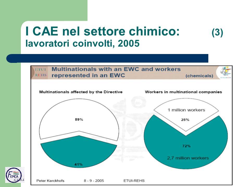 I CAE nel settore chimico: (3) lavoratori coinvolti, 2005
