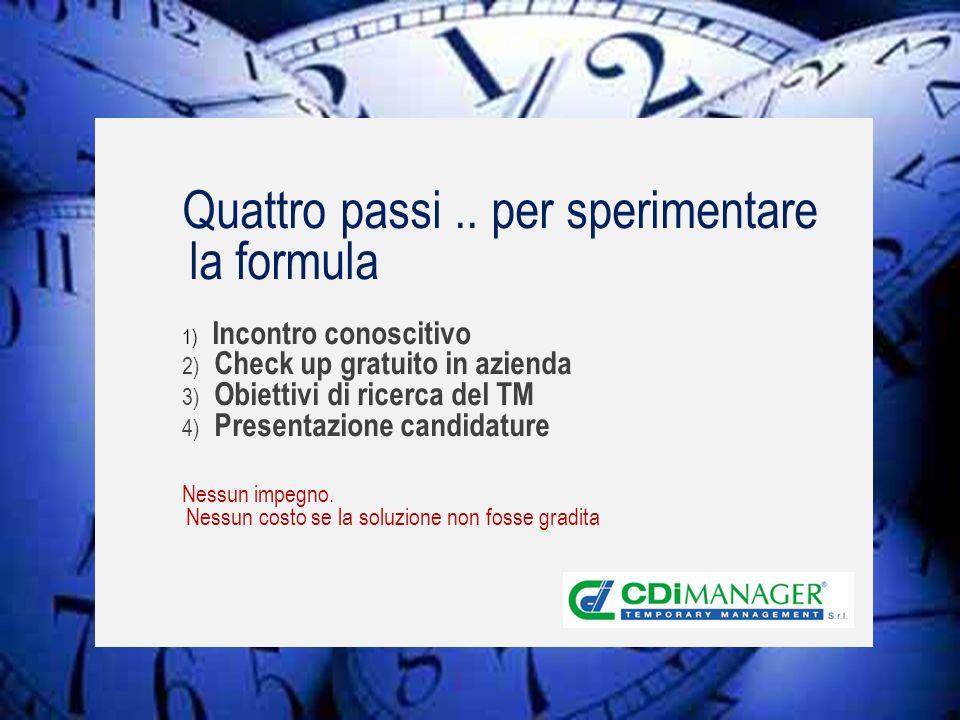 Firenze, 200711 Quattro passi.. per sperimentare la formula 1) Incontro conoscitivo 2) Check up gratuito in azienda 3) Obiettivi di ricerca del TM 4)