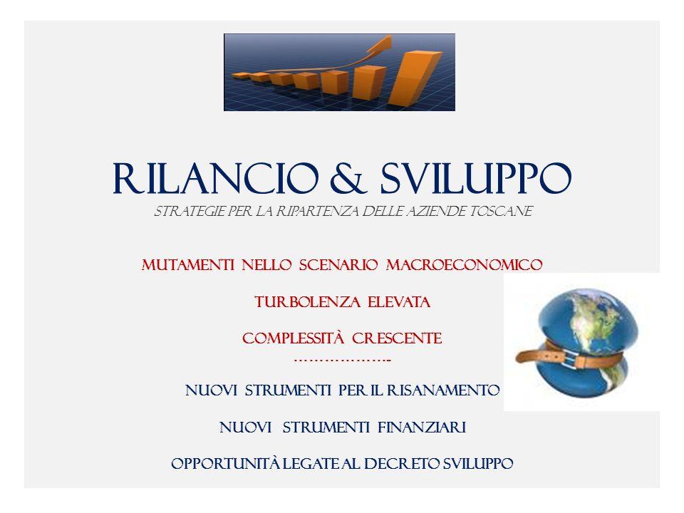 RILANCIO & SVILUPPO Strategie per la ripartenza delle Aziende toscane mutamenti nello scenario macroeconomico turbolenza elevata complessità crescente