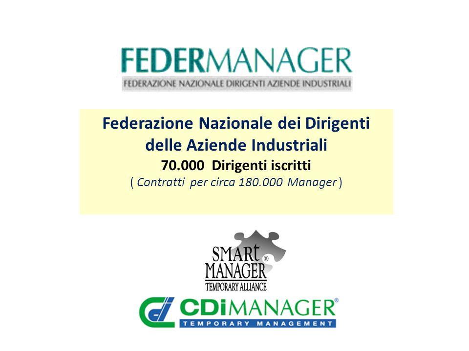 Federazione Nazionale dei Dirigenti delle Aziende Industriali 70.000 Dirigenti iscritti ( Contratti per circa 180.000 Manager )
