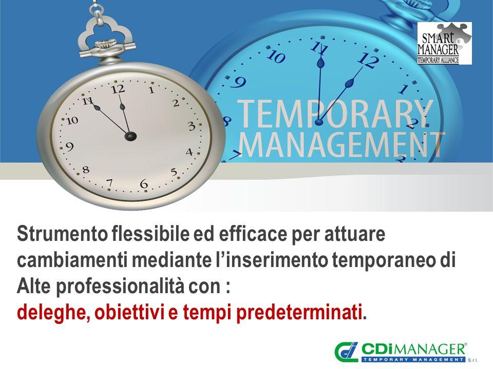 Strumento flessibile ed efficace per attuare cambiamenti mediante linserimento temporaneo di Alte professionalità con : deleghe, obiettivi e tempi predeterminati.