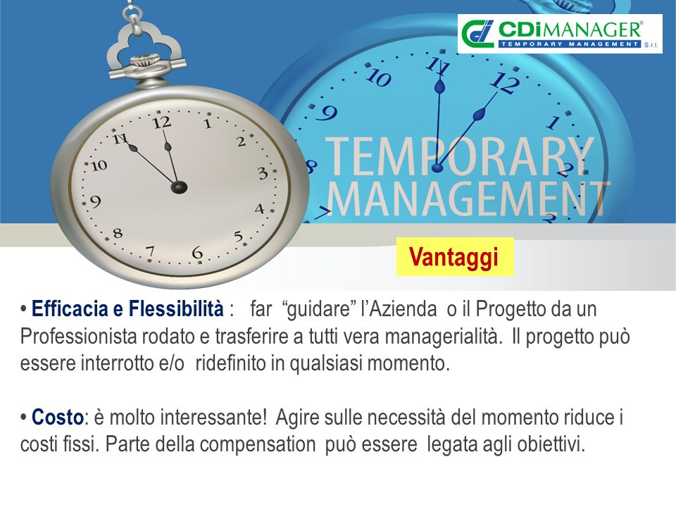 Efficacia e Flessibilità : far guidare lAzienda o il Progetto da un Professionista rodato e trasferire a tutti vera managerialità.