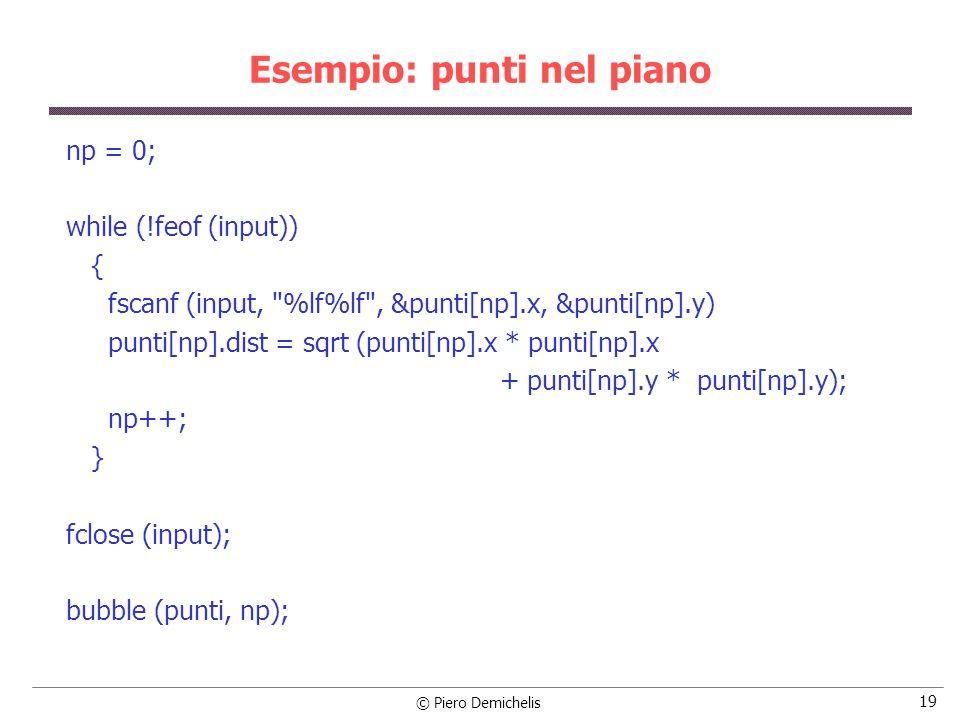© Piero Demichelis 20 Esempio: punti nel piano /* Operazioni finali: chiede il nome del file di output e lo crea */ printf (\nNome del file di output: ); scanf ( %s , nomefile); if ((output = fopen (nomefile, w )) == NULL) { printf ( \nErrore creazione file %s , nomefile); exit (1); } /* visualizza la sequenza di punti sul monitor e la salva nel file */ for (i = 0; i < np; i++) { printf (\nPunto %3d: %9.4lf,%9.4lf %10.4lf , i+1, punti[i].x, punti[i].y, punti[i].dist); fprintf (output, \nPunto %3d: %9.4lf,%9.4lf %10.4lf , i+1, punti[i].x, punti[i].y, punti[i].dist); } fclose(output); }