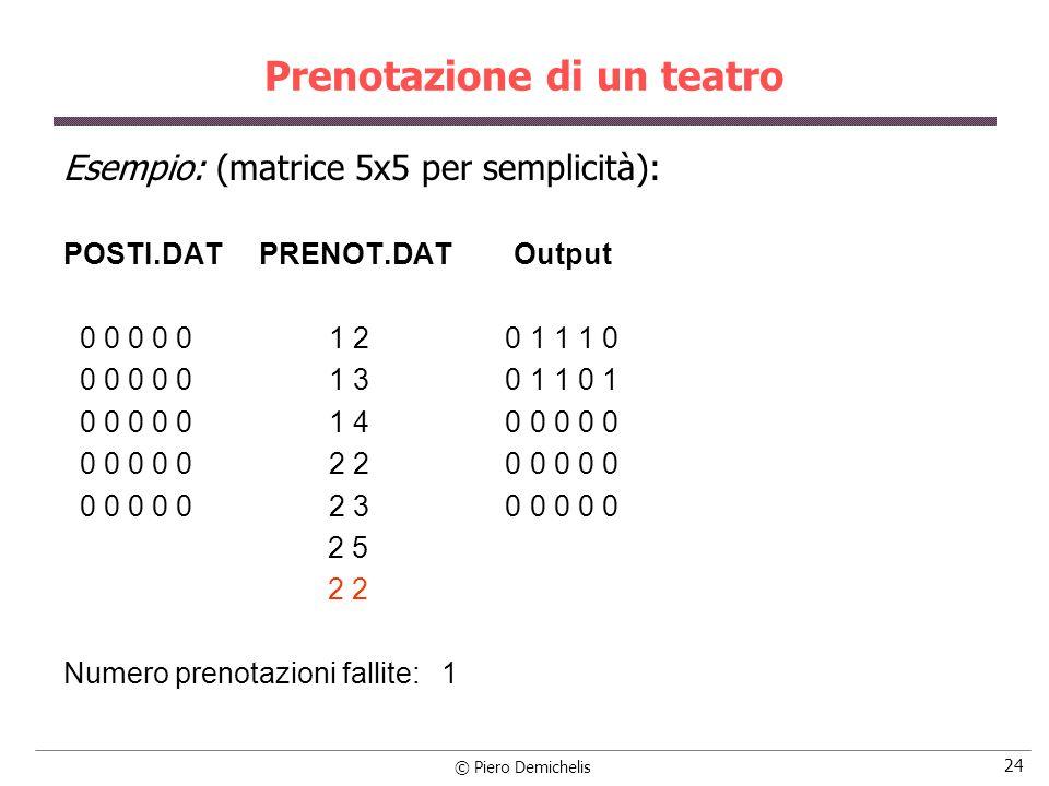 © Piero Demichelis 25 Prenotazione di un teatro #include #define POSTI POSTI.DAT #define PRENOT PRENOT.DAT #define NFILE 50 #define NCOL 30 main() { int teatro[NFILE][NCOL]; FILE *in, *out; int fi, co, i, j, liberi=0, nook=0;