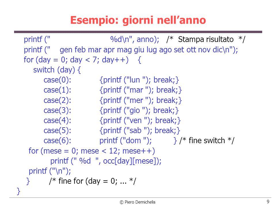 © Piero Demichelis 10 Esempio: codice 2 su 5 Generare tutti i codici 2 su 5 (5 bit, di cui due bit devono essere a 1 e tre bit a zero), li si memorizzi in un opportuna base dati e li si visualizzi sul videoterminale.