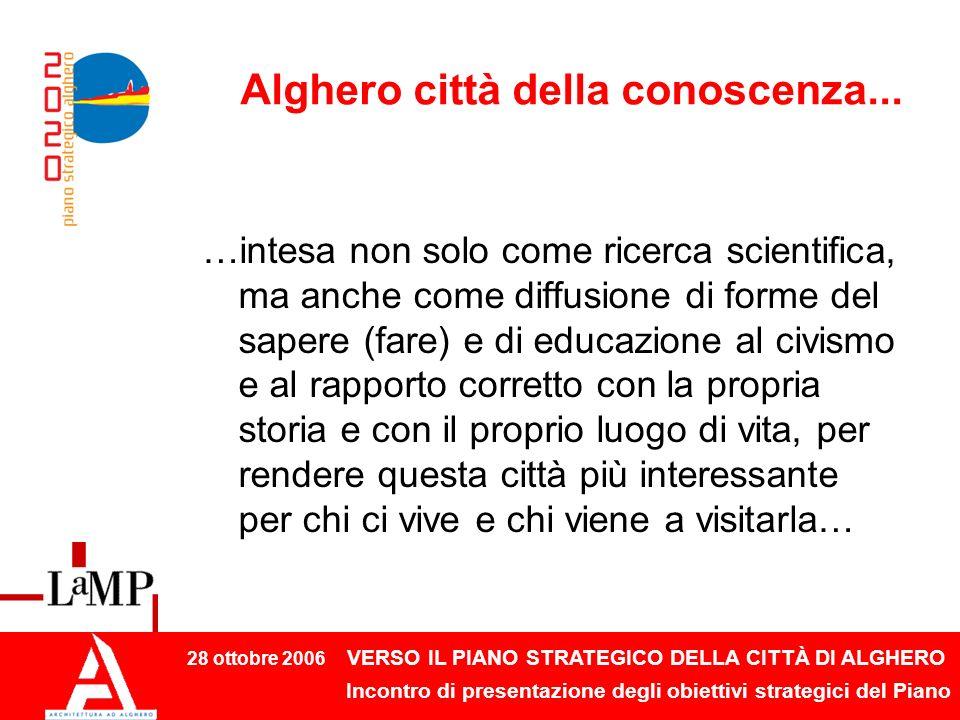 28 ottobre 2006 VERSO IL PIANO STRATEGICO DELLA CITTÀ DI ALGHERO Incontro di presentazione degli obiettivi strategici del Piano Alghero città della conoscenza...