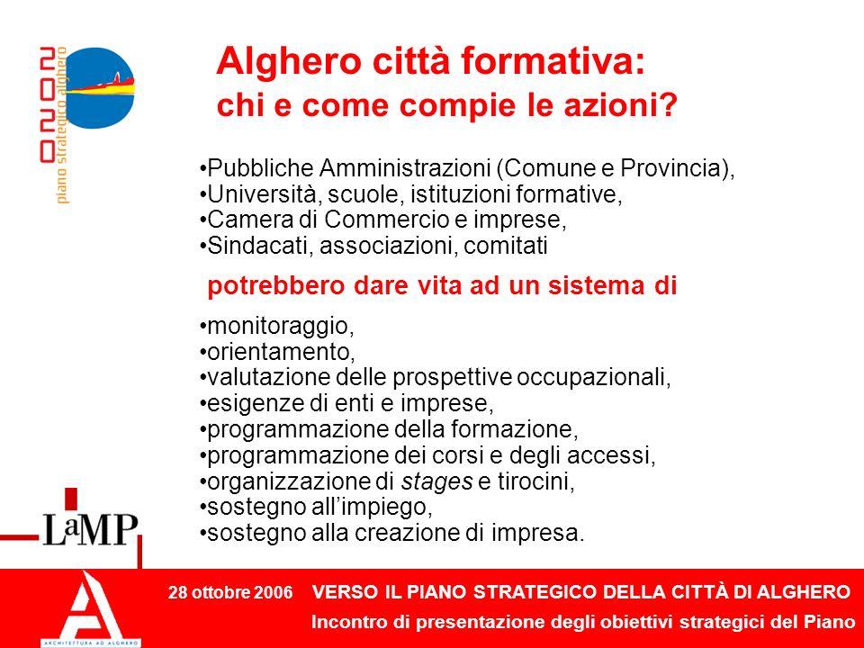 28 ottobre 2006 VERSO IL PIANO STRATEGICO DELLA CITTÀ DI ALGHERO Incontro di presentazione degli obiettivi strategici del Piano Alghero città formativa: chi e come compie le azioni.