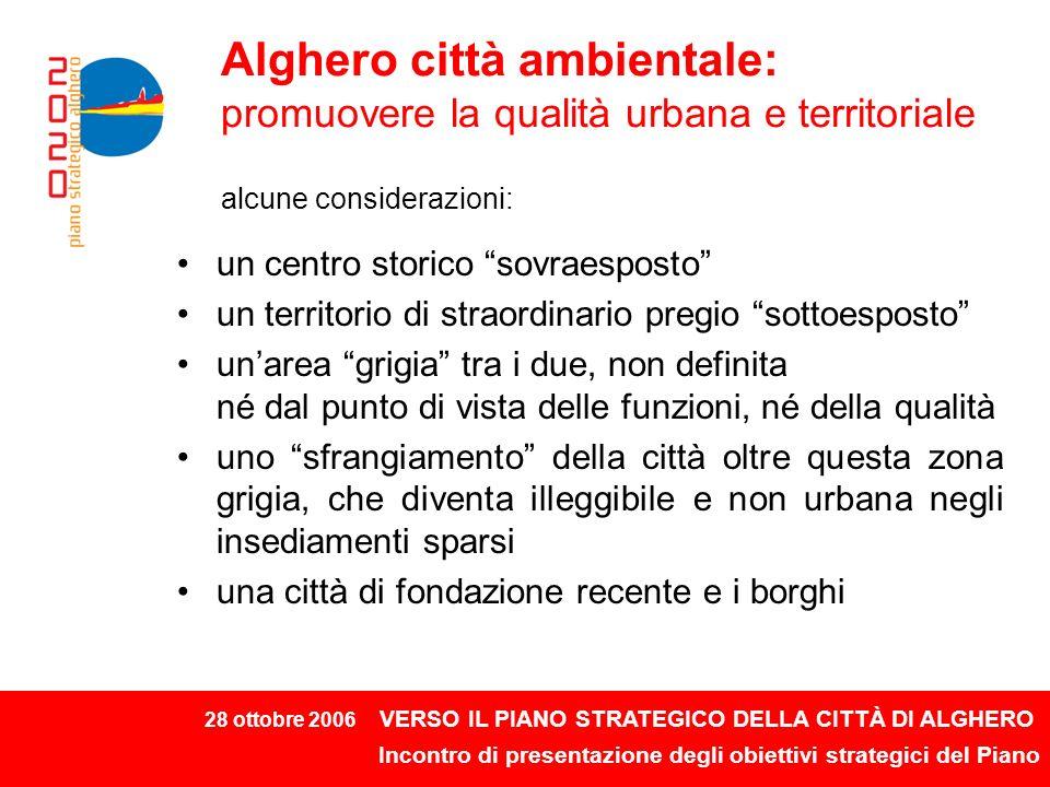 28 ottobre 2006 VERSO IL PIANO STRATEGICO DELLA CITTÀ DI ALGHERO Incontro di presentazione degli obiettivi strategici del Piano La città ambientale: 3 obiettivi