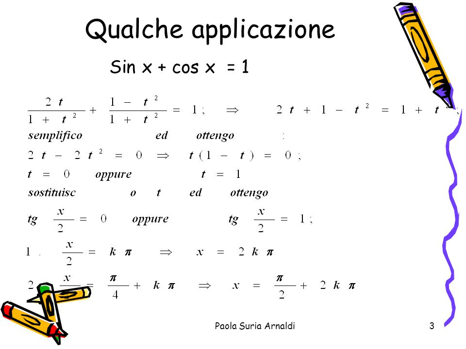 Paola Suria Arnaldi3 Qualche applicazione Sin x + cos x = 1