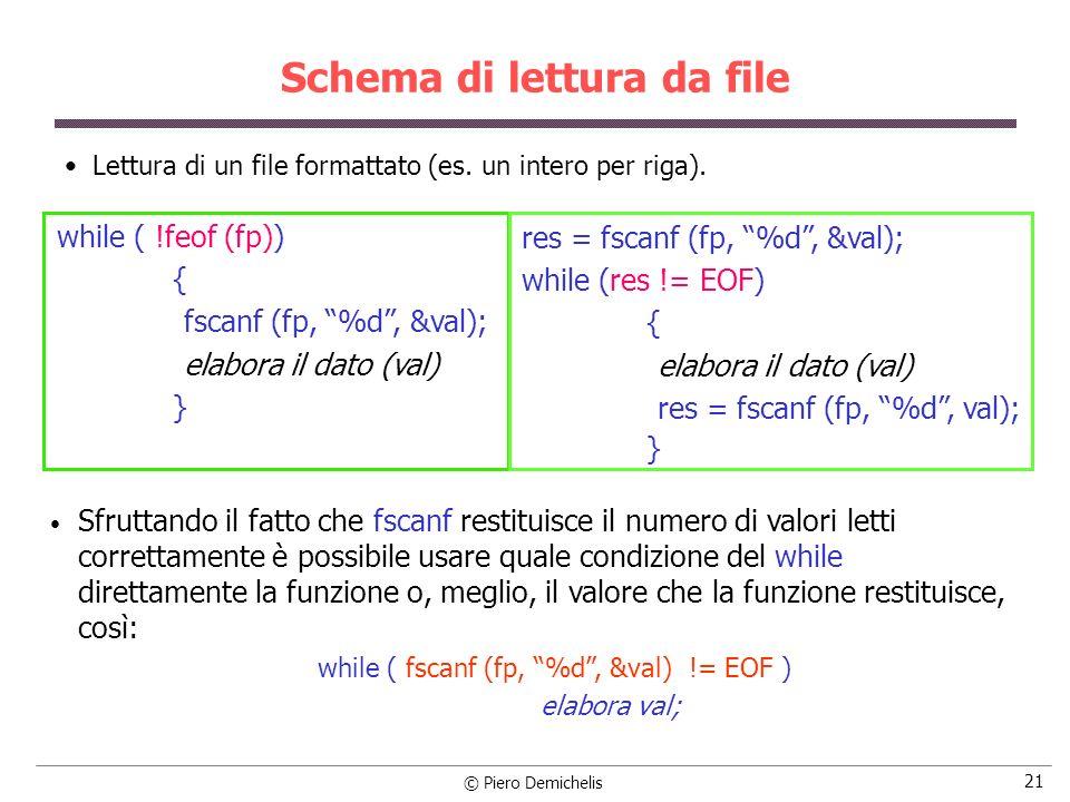 © Piero Demichelis 21 Schema di lettura da file Lettura di un file formattato (es.
