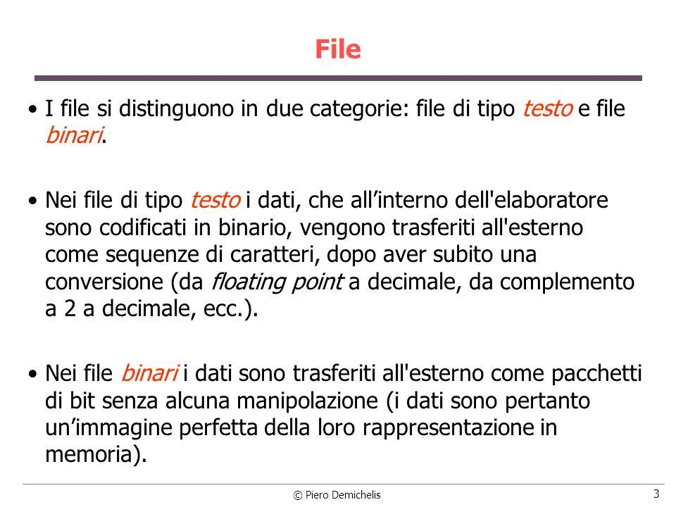 © Piero Demichelis 14 Formato delle funzioni di I/O su file inp_file = fopen (nome, r); /* apertura in lettura */ out_file = fopen (nome, w); /* apertura in scrittura */ fscanf (inp_file, format , lista variabili); /* lettura da inp_file */ fprintf (out_file, format, lista variabili); /* scrittura su out_file */ carattere = fgetc (inp_file); /* lettura di un carattere da inp_file */ fputc (carattere, out_file); /* scrittura di un carattere su out_file */ fgets (stringa, n, inp_file); /* legge una riga (fino a n car.) in stringa */ fputs (stringa, out_file); /* scrive stringa in out_file */ fclose (inp_file); fclose (out_file); /* chiusura dei file */