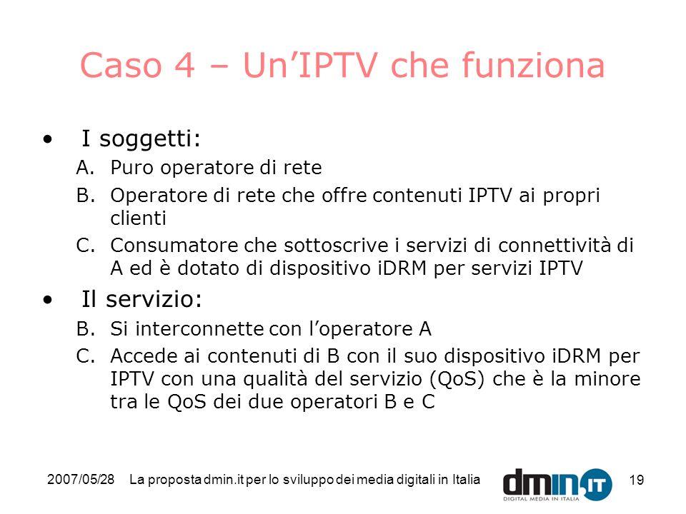 2007/05/28La proposta dmin.it per lo sviluppo dei media digitali in Italia 19 Caso 4 – UnIPTV che funziona I soggetti: A.Puro operatore di rete B.Operatore di rete che offre contenuti IPTV ai propri clienti C.Consumatore che sottoscrive i servizi di connettività di A ed è dotato di dispositivo iDRM per servizi IPTV Il servizio: B.Si interconnette con loperatore A C.Accede ai contenuti di B con il suo dispositivo iDRM per IPTV con una qualità del servizio (QoS) che è la minore tra le QoS dei due operatori B e C