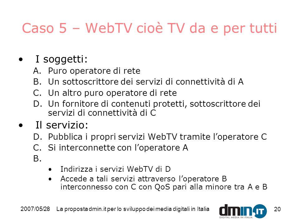 2007/05/28La proposta dmin.it per lo sviluppo dei media digitali in Italia 20 Caso 5 – WebTV cioè TV da e per tutti I soggetti: A.Puro operatore di rete B.Un sottoscrittore dei servizi di connettività di A C.Un altro puro operatore di rete D.Un fornitore di contenuti protetti, sottoscrittore dei servizi di connettività di C Il servizio: D.Pubblica i propri servizi WebTV tramite loperatore C C.Si interconnette con loperatore A B.