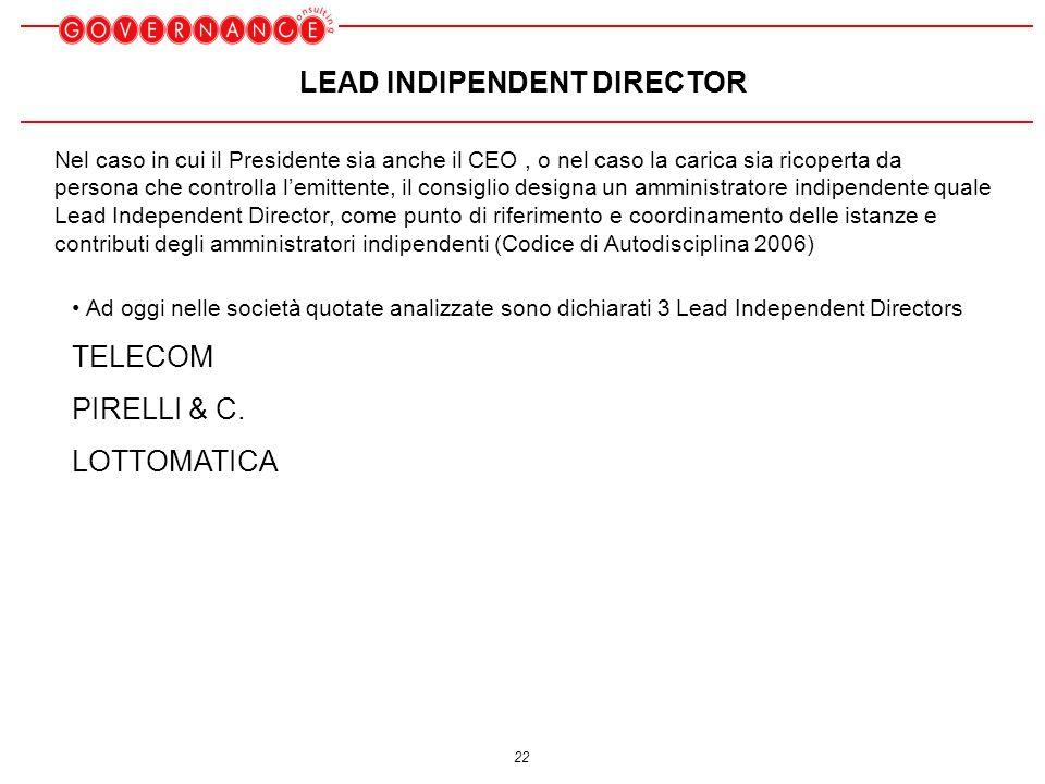 22 LEAD INDIPENDENT DIRECTOR Ad oggi nelle società quotate analizzate sono dichiarati 3 Lead Independent Directors TELECOM PIRELLI & C.
