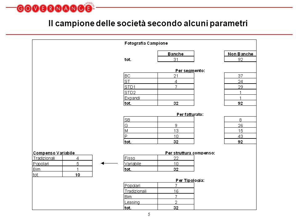 5 Il campione delle società secondo alcuni parametri