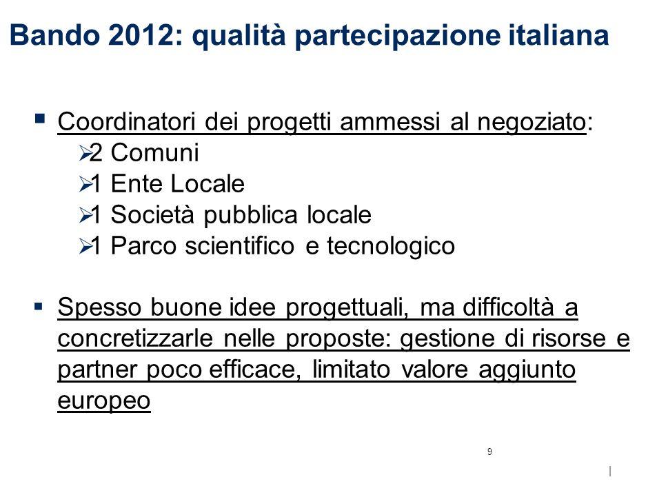 | Bando 2012: valori medi per partner italiani (k ) 8