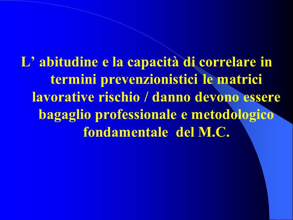 L abitudine e la capacità di correlare in termini prevenzionistici le matrici lavorative rischio / danno devono essere bagaglio professionale e metodo