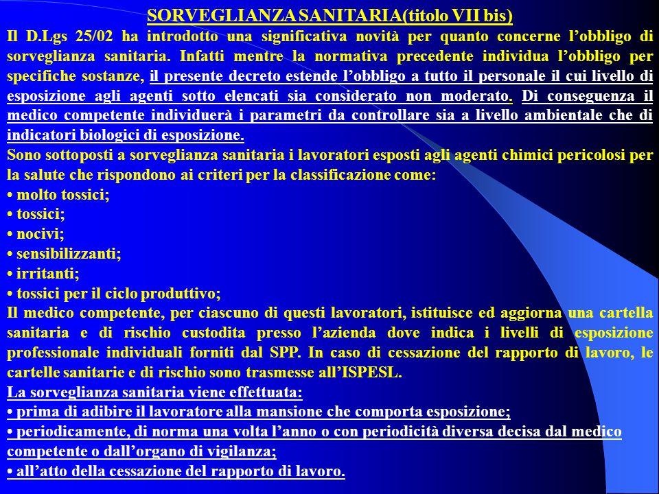 SORVEGLIANZA SANITARIA(titolo VII bis) Il D.Lgs 25/02 ha introdotto una significativa novità per quanto concerne lobbligo di sorveglianza sanitaria. I