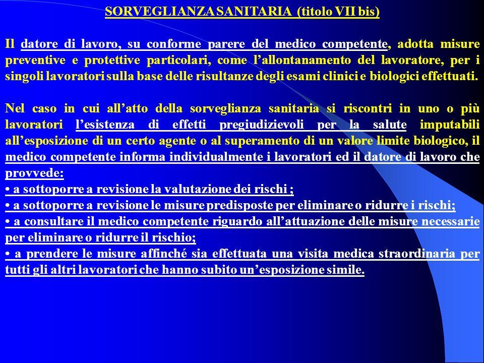 SORVEGLIANZA SANITARIA (titolo VII bis) Il datore di lavoro, su conforme parere del medico competente, adotta misure preventive e protettive particola