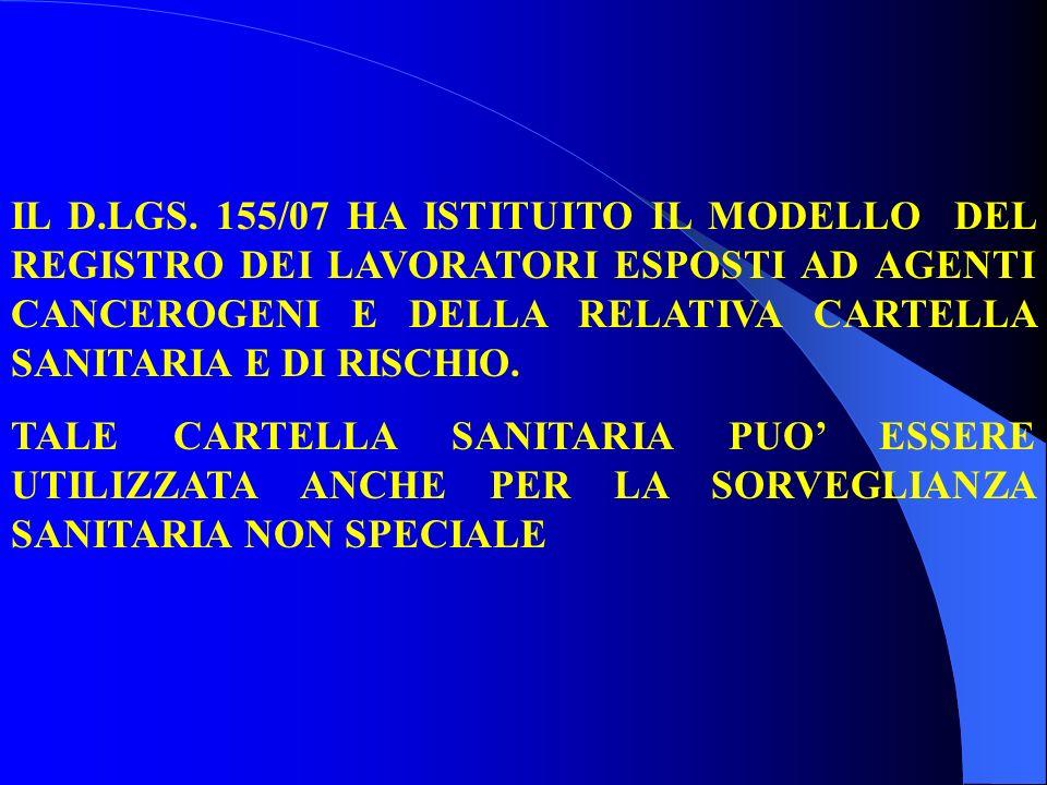 IL D.LGS. 155/07 HA ISTITUITO IL MODELLO DEL REGISTRO DEI LAVORATORI ESPOSTI AD AGENTI CANCEROGENI E DELLA RELATIVA CARTELLA SANITARIA E DI RISCHIO. T