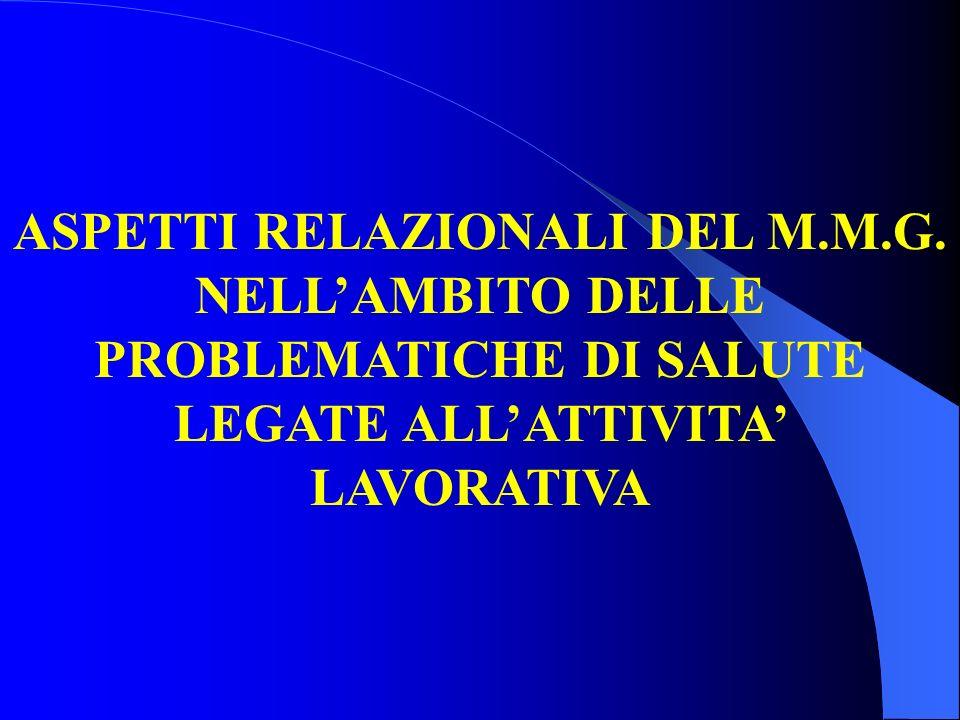 ASPETTI RELAZIONALI DEL M.M.G. NELLAMBITO DELLE PROBLEMATICHE DI SALUTE LEGATE ALLATTIVITA LAVORATIVA