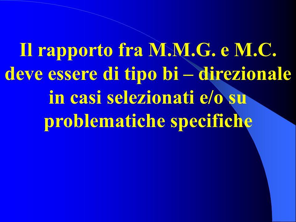 Il rapporto fra M.M.G. e M.C. deve essere di tipo bi – direzionale in casi selezionati e/o su problematiche specifiche