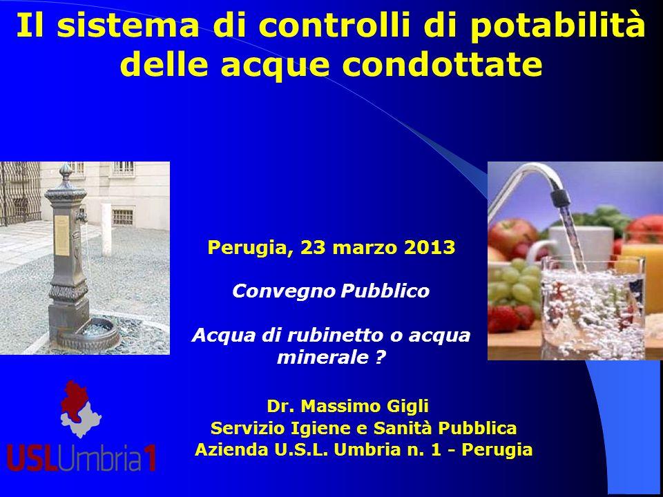 Il sistema di controlli di potabilità delle acque condottate Dr. Massimo Gigli Servizio Igiene e Sanità Pubblica Azienda U.S.L. Umbria n. 1 - Perugia