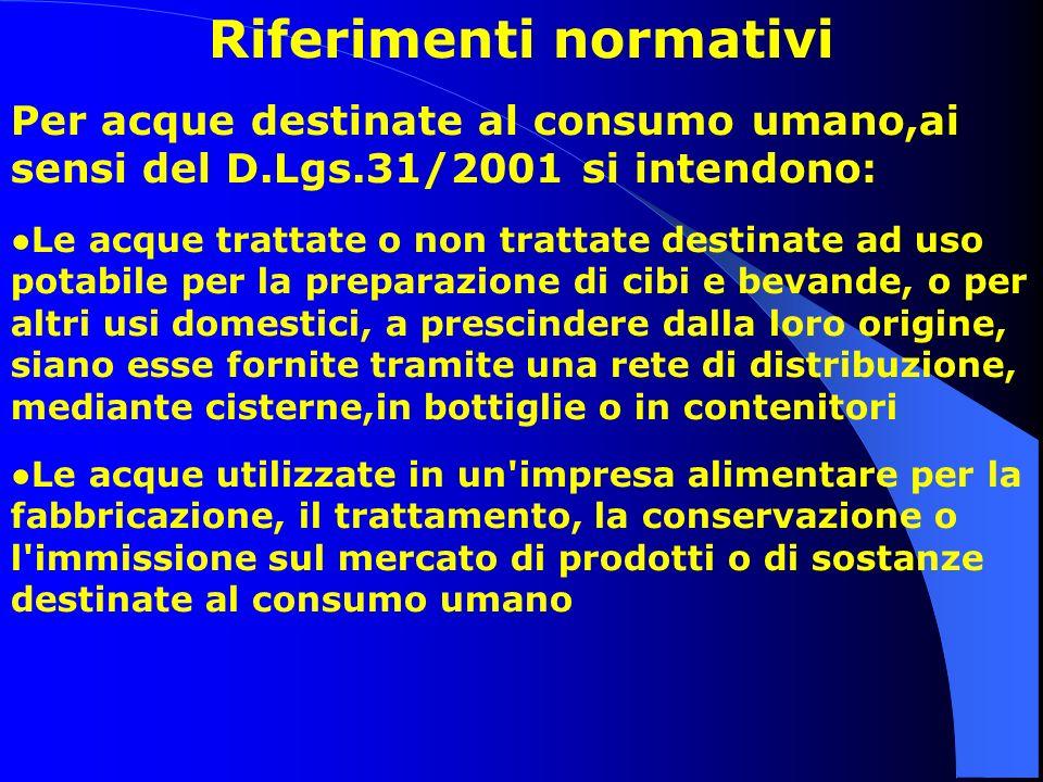 Riferimenti normativi Per acque destinate al consumo umano,ai sensi del D.Lgs.31/2001 si intendono: Le acque trattate o non trattate destinate ad uso