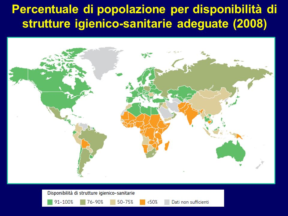 Percentuale di popolazione per disponibilità di strutture igienico-sanitarie adeguate (2008)