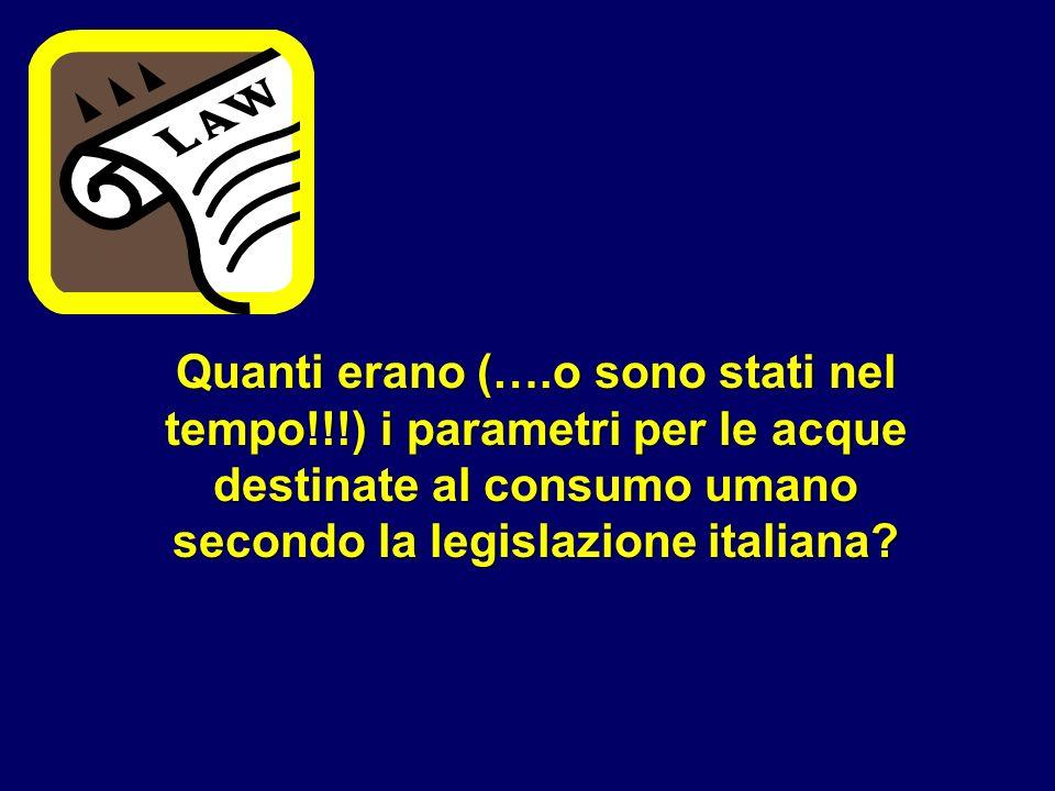 Quanti erano (….o sono stati nel tempo!!!) i parametri per le acque destinate al consumo umano secondo la legislazione italiana?