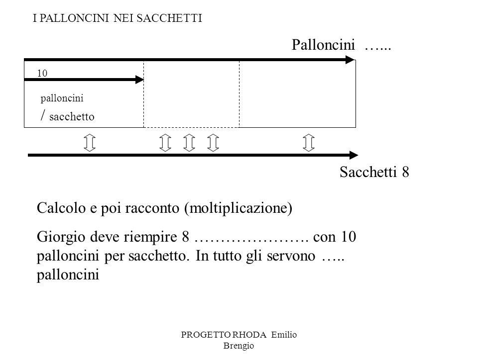 PROGETTO RHODA Emilio Brengio palloncini / sacchetto Calcolo e poi racconto (moltiplicazione) Giorgio deve riempire 8 …………………. con 10 palloncini per s