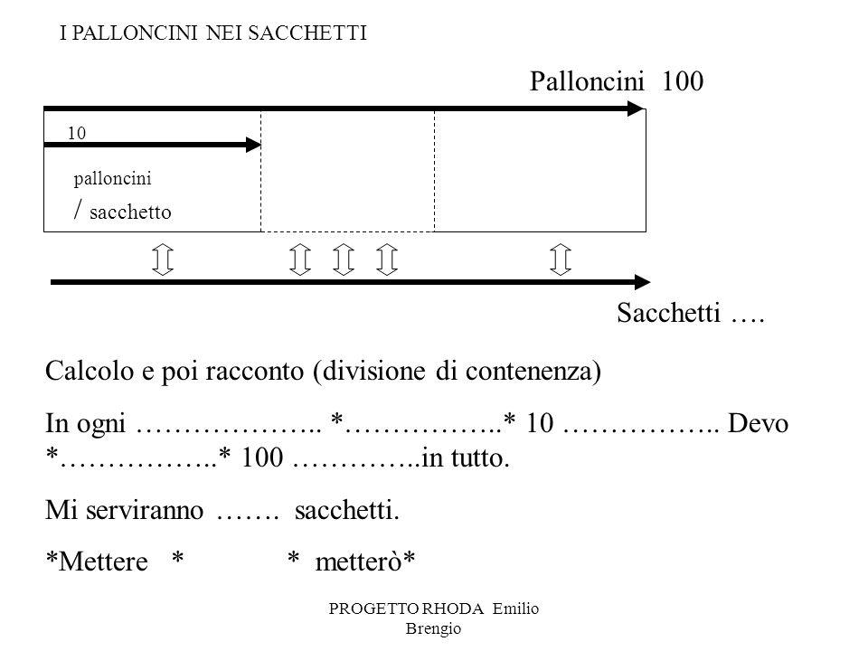 PROGETTO RHODA Emilio Brengio palloncini / sacchetto Calcolo e poi racconto (divisione di contenenza) In ogni ……………….. *……………..* 10 …………….. Devo *…………