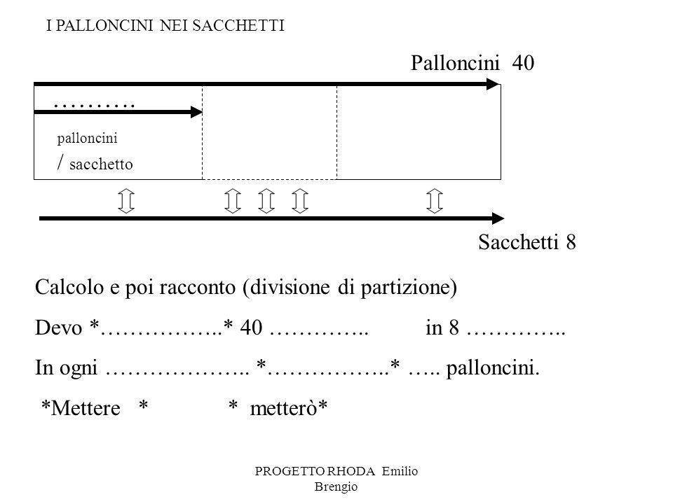 PROGETTO RHODA Emilio Brengio palloncini / sacchetto Calcolo e poi racconto (divisione di partizione) Devo *……………..* 40 ………….. in 8 ………….. In ogni ………