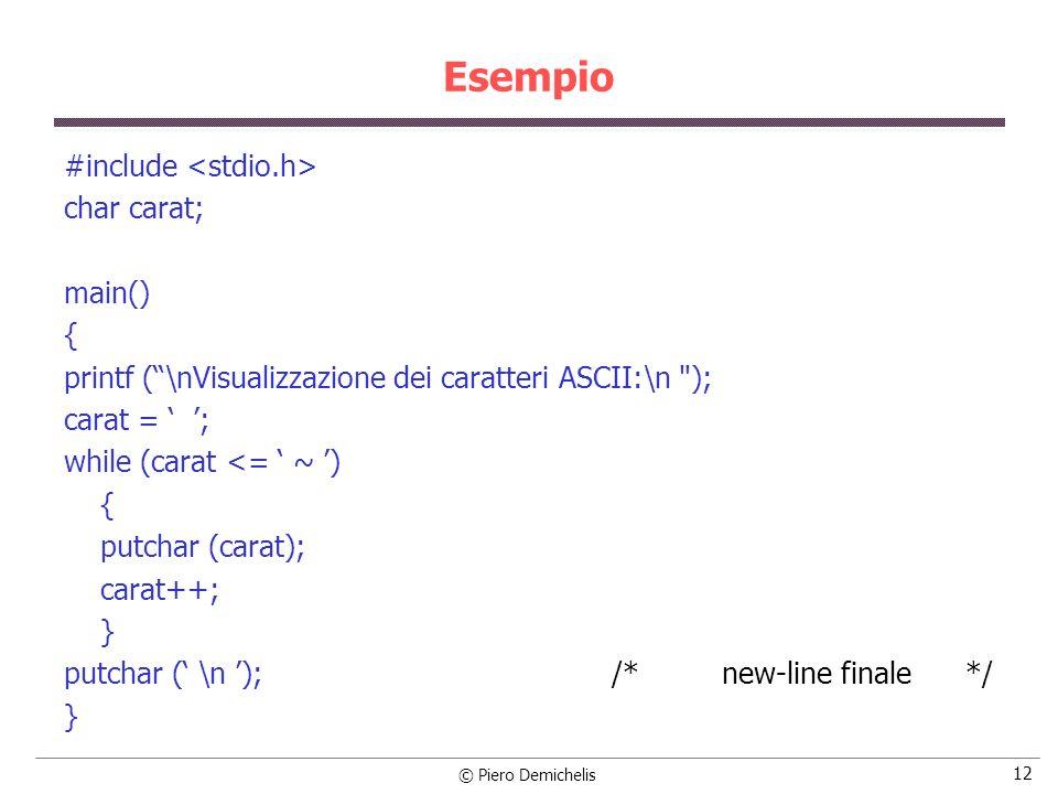 © Piero Demichelis 12 Esempio #include char carat; main() { printf (\nVisualizzazione dei caratteri ASCII:\n ); carat = ; while (carat <= ~ ) { putchar (carat); carat++; } putchar ( \n ); /* new-line finale */ }